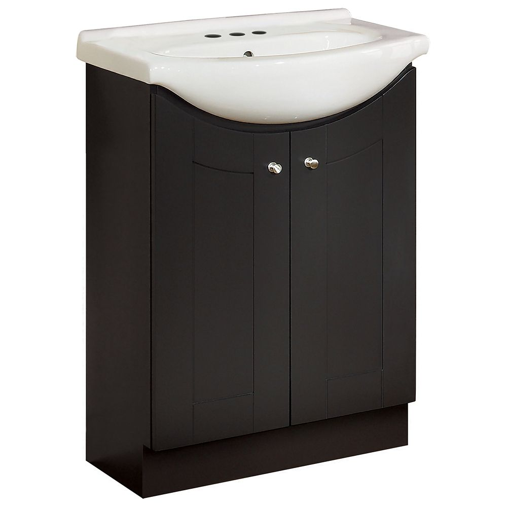 Eurostone 24-inch W Shaker Vanity Base in Dark Chocolate Finish with Porcelain Top