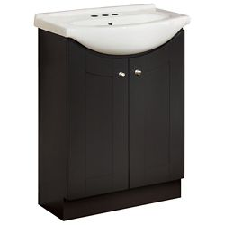 GLACIER BAY 24-inch W Peython Vanity Ensemble in Dark Chocolate with White Porcelain Top