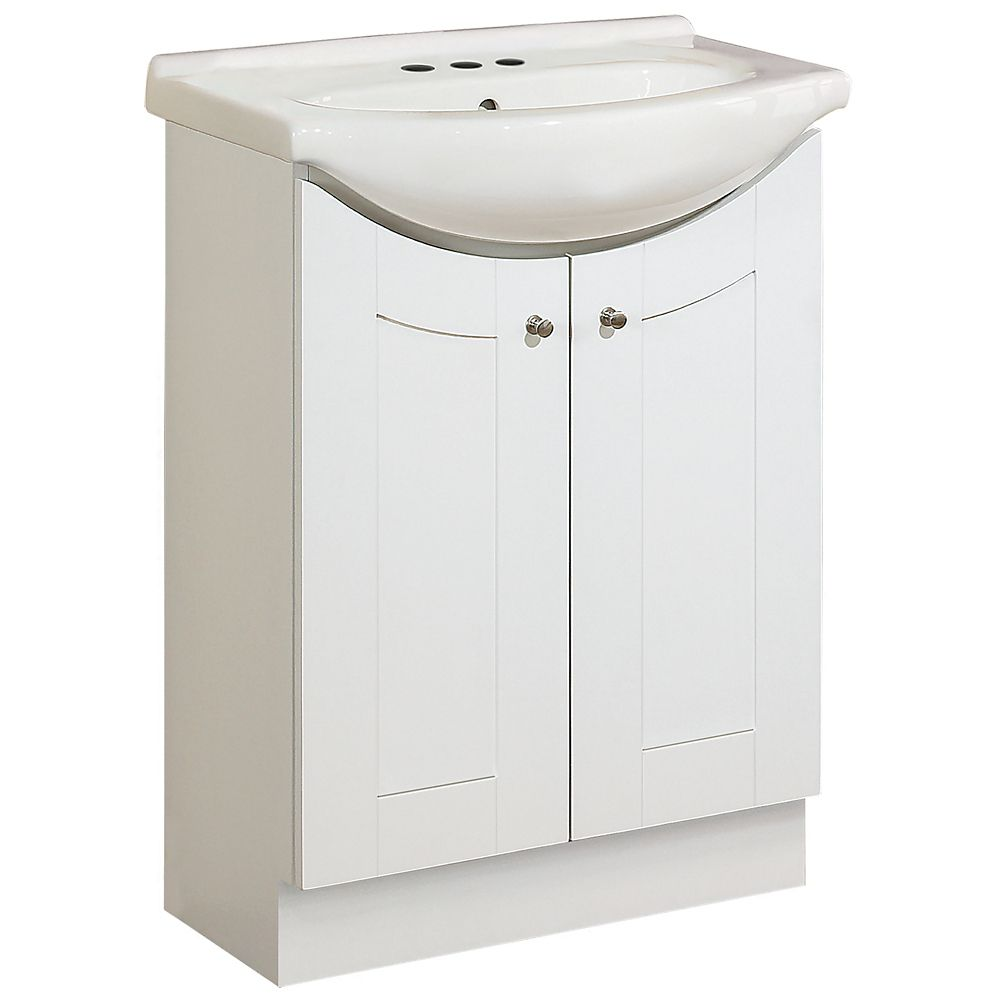 24 Inch Eurostone Shaker-style Vanity Base with Top � Matte White