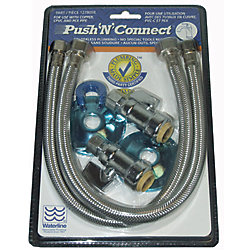 Push'N'Connect Faucet Hook Up Straight Stop Push Connect 16-inch Stainless Steel Supply