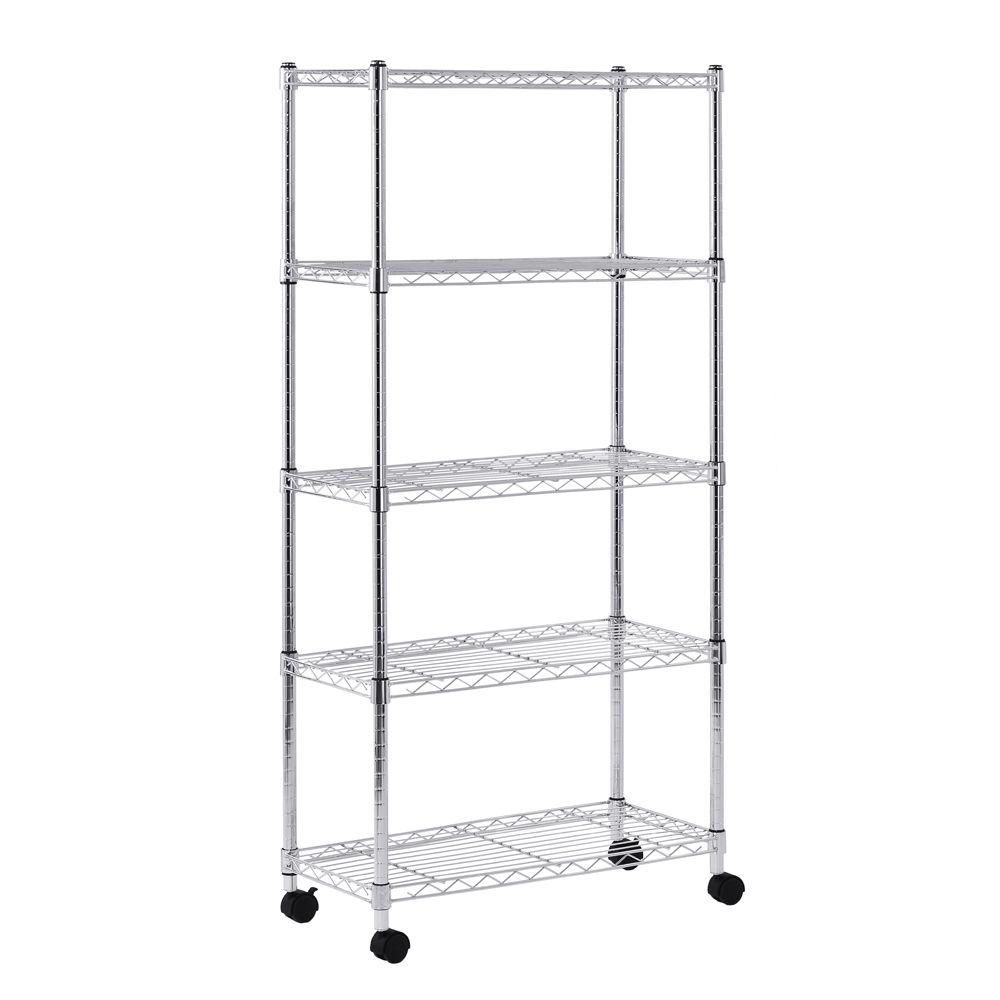 5 Shelf Light Duty Mobile Wire Shelving Unit 30 Inch W x 14 Inch D x 60 Inch H Silver Color