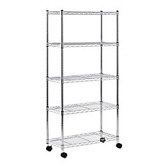 60-inch H x 30-inch W x 14-inch D 5 Shelf Mobile Wire Commercial Shelving Unit in Grey