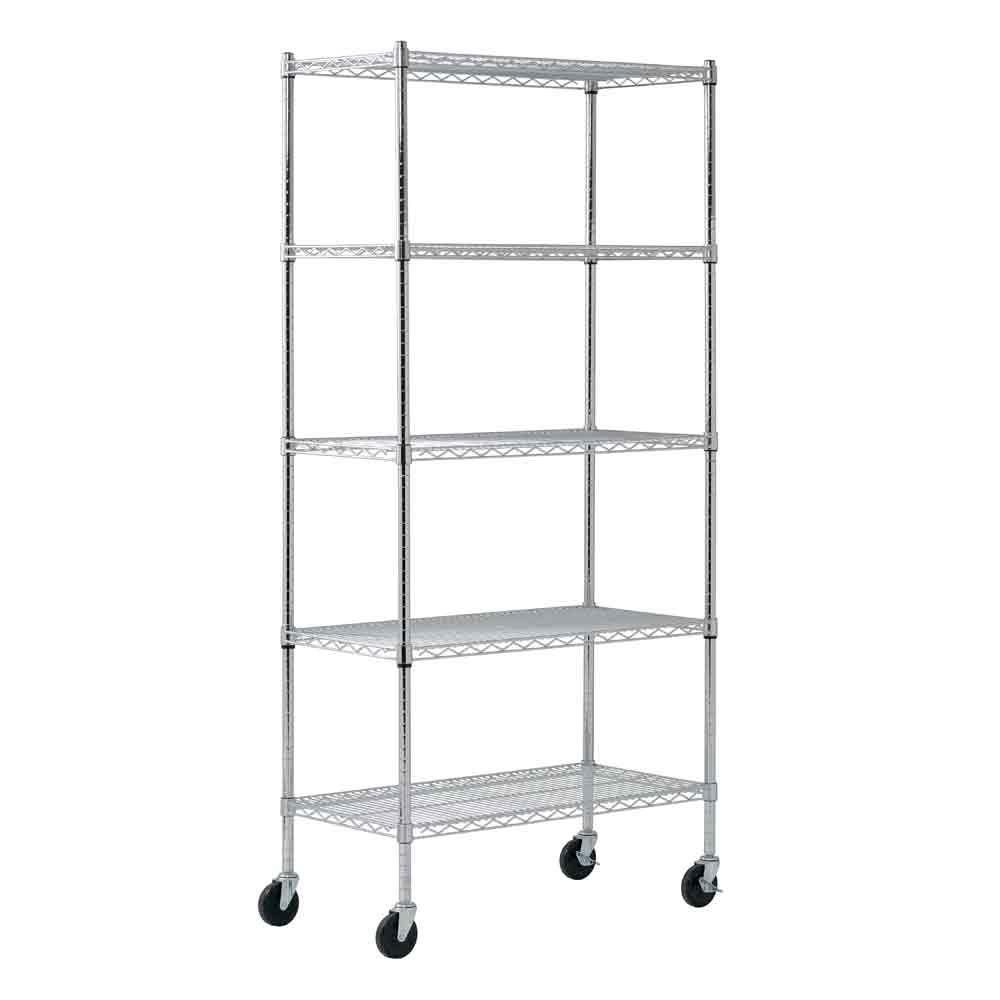 Sandusky 5 Shelf Heavy Duty Mobile Wire Shelving Unit 36