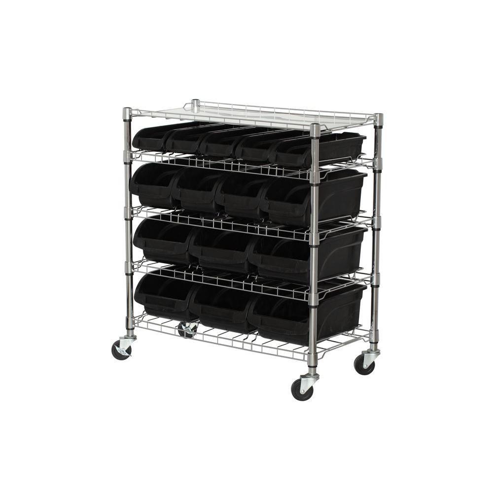 5-Shelf 33 Inch W x 38 Inch H x 16.5 Inch D Mobile Bin Shelving Unit