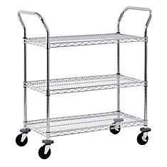 36-inch x 18-inch 3-Tier Chrome Wire Utility Cart