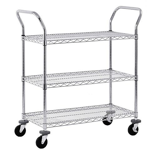 Sandusky 38-inch H x 36-inch W x 18-inch D 3 Shelf Mobile Wire Commercial Shelving Unit in Chrome