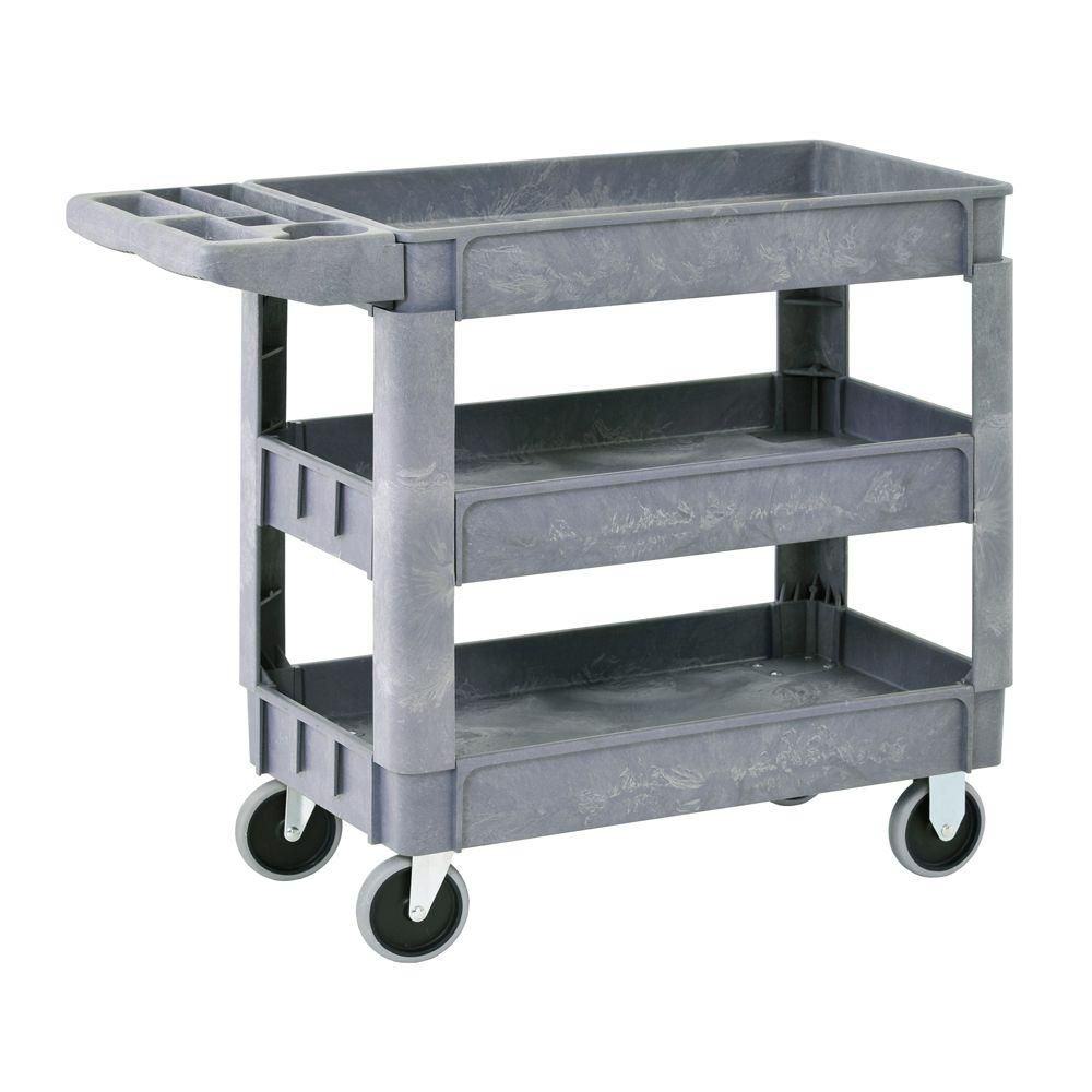 Heavy Duty Plastic Utility Cart, 3 Shelves