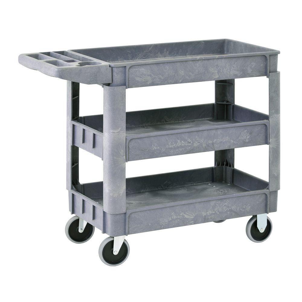 Heavy Duty Plastic Utility Cart, 3 Shelves