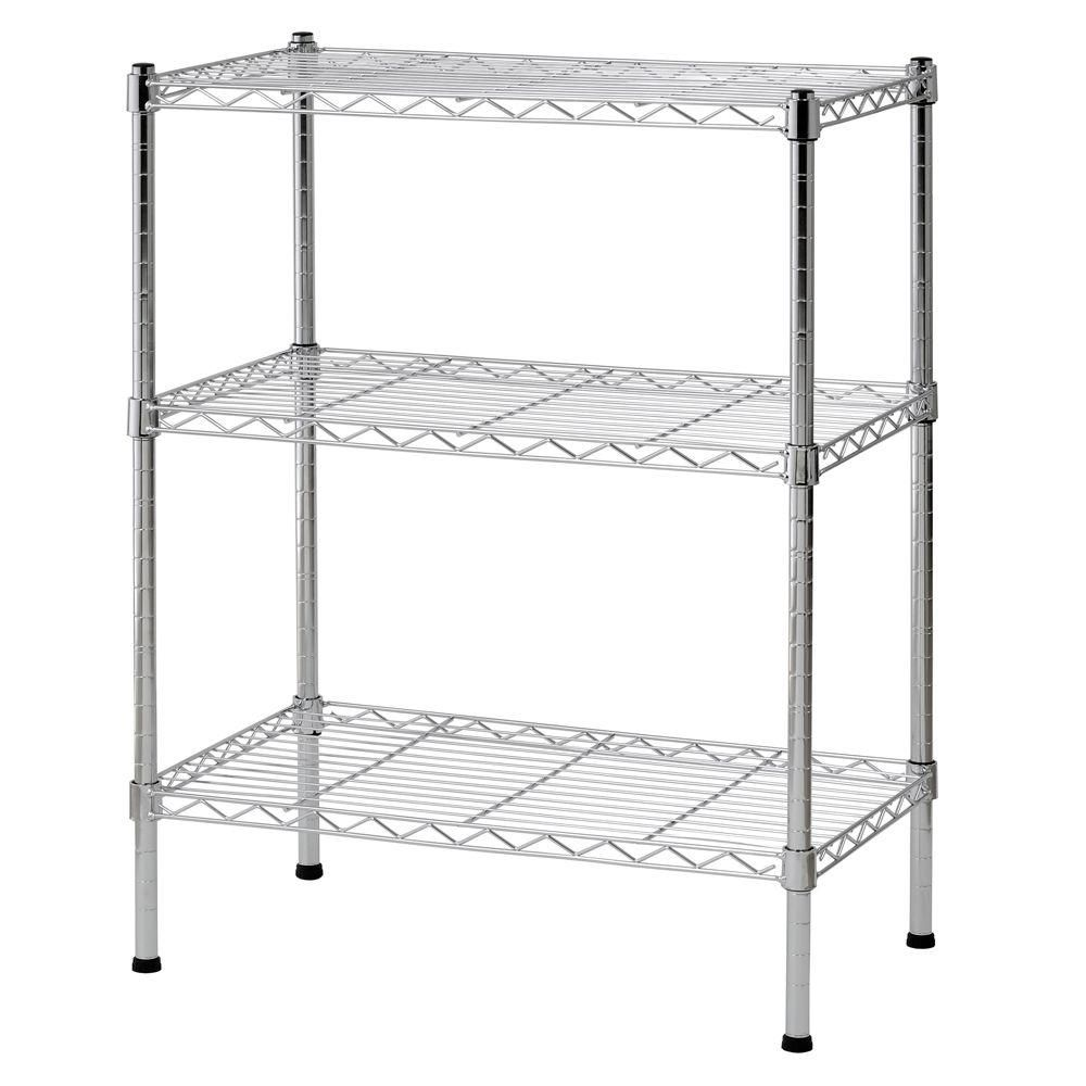 3-Shelf 24 Inch W x 30 Inch H x 14 Inch D Chrome Wire Shelving Unit