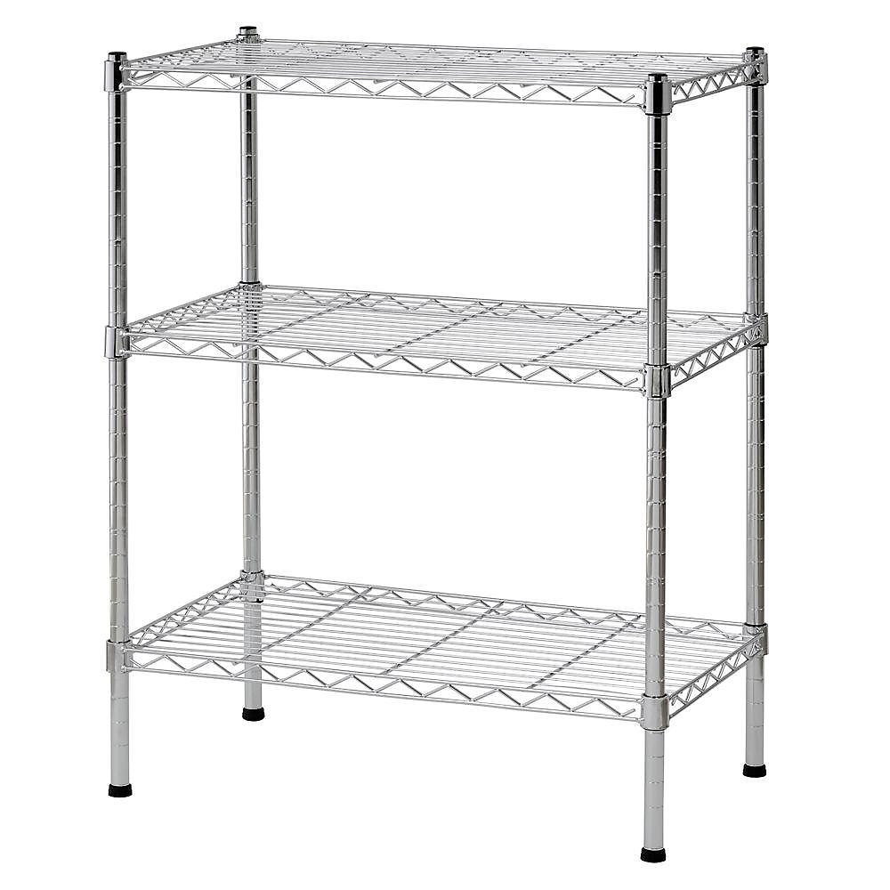 Sandusky 24 Inch W X 30 H 14 D 3 Shelf Chrome Wire Shelving Unit
