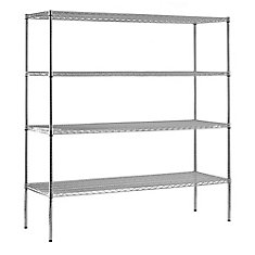 4-Shelf 86 Inch H x 72 Inch W x 24 Inch D Heavy Duty NSF Certified Chrome Wire Shelving