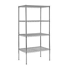 4-Shelf 86 Inch H x 36 Inch W x 24 Inch D Heavy Duty NSF Certified Chrome Wire Shelving