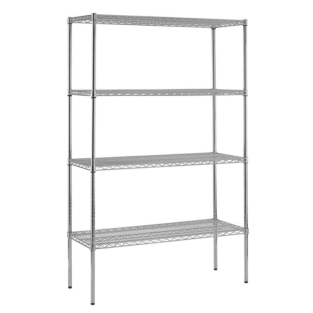 4-Shelf 86 Inch H x 48 Inch W x 18 Inch D Heavy Duty NSF Certified Chrome Wire Shelving