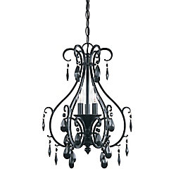 Hampton Bay 3-Light Black Chandelier