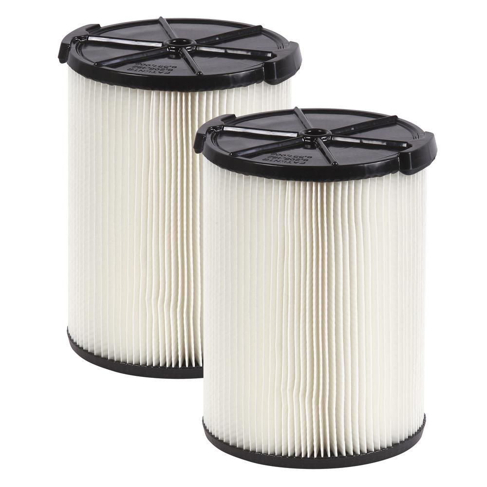 Everyday Dirt 1-Layer Filter for 18 L (5 Gal.) & Larger Wet/Dry Vacuums  (2-Pack)