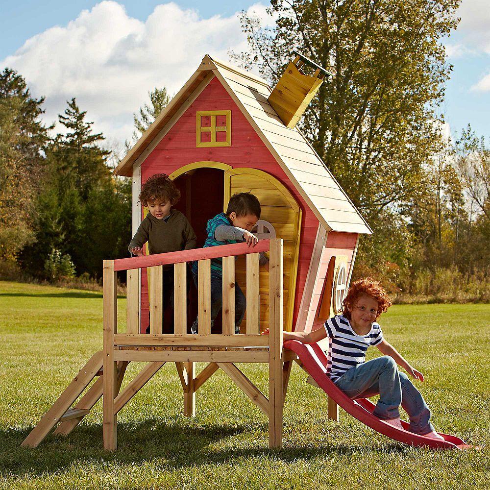 Swing-N-Slide Hide-N-Slide 6 1/2 ft. x 5 ft. x 6 1/2 ft. Elevated Playhouse with Slide