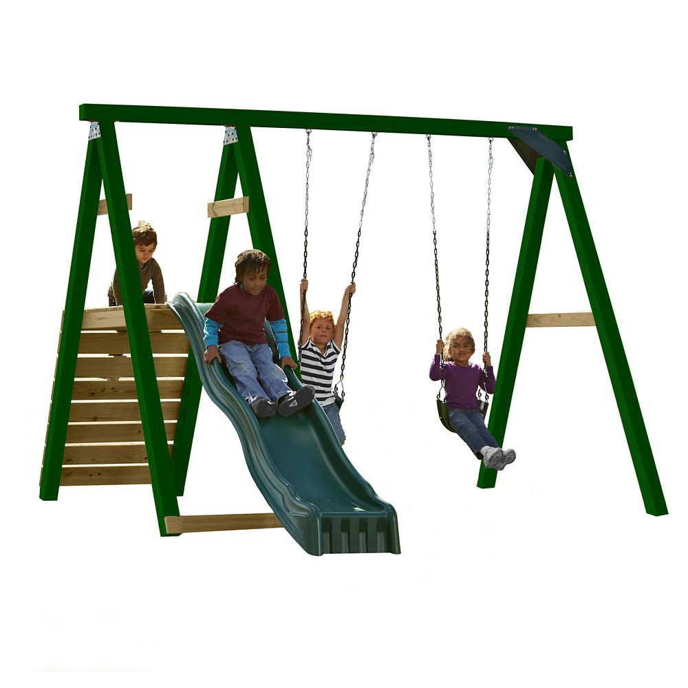Pine Bluff Complete Playset with Slide and Tuff Wood