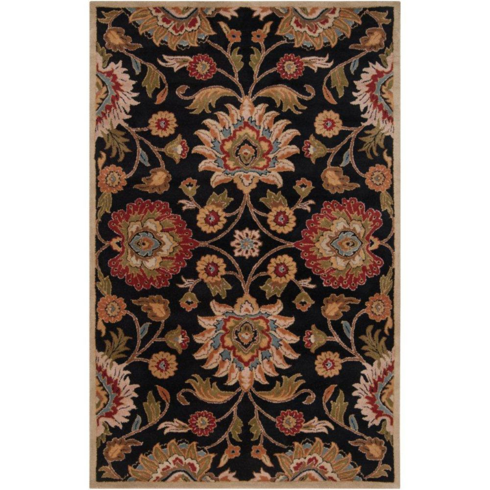 Amanda Black Wool   - 3 Ft. 6 In. x 5 Ft. 6 In. Area Rug