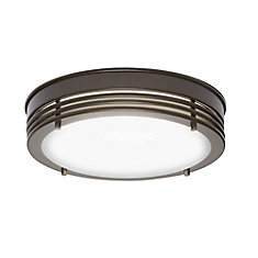 13.3-inch Oil-Rubbed Bronze Integrated LED Flushmount Light Fixture with Opal Glass Shade - ENERGY STAR