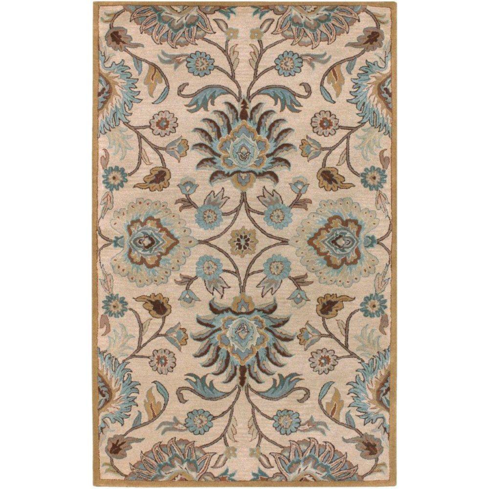 Tapis Amanda ivoire en laine - 3 pieds 6 pouces x 5 pieds 6 pouces