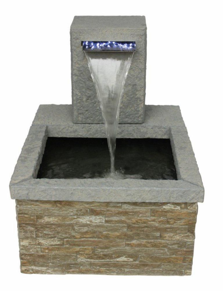 Angelo Décor Stone Patio Pond with Illuminated Spillway