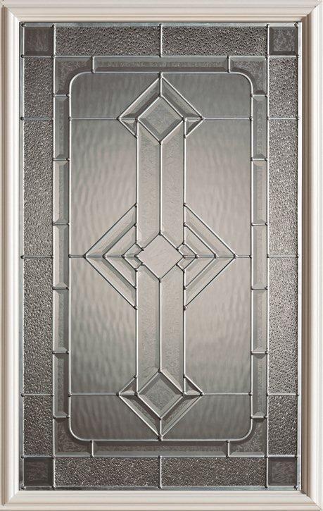 Stanley Doors 23 inch x 37 inch Neo Deco Zinc Caming 1/2 Lite Decorative Glass Insert