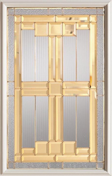 Stanley Doors 23 inch x 37 inch Architectural Brass Caming 1/2 Lite Decorative Glass Insert