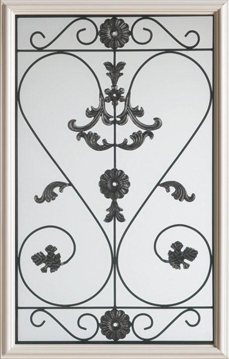 23-inch x 37-inch 1/2-Lite Wrought Iron Glass Door