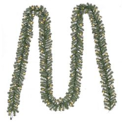 Home Accents Holiday 20 ft. Pre-Lit Nobel Fir Artificial Christmas Garland with 100 Clear Lights
