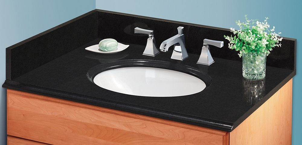 GLACIER BAY 37 Inch Midnight Black Granite Vanity Top