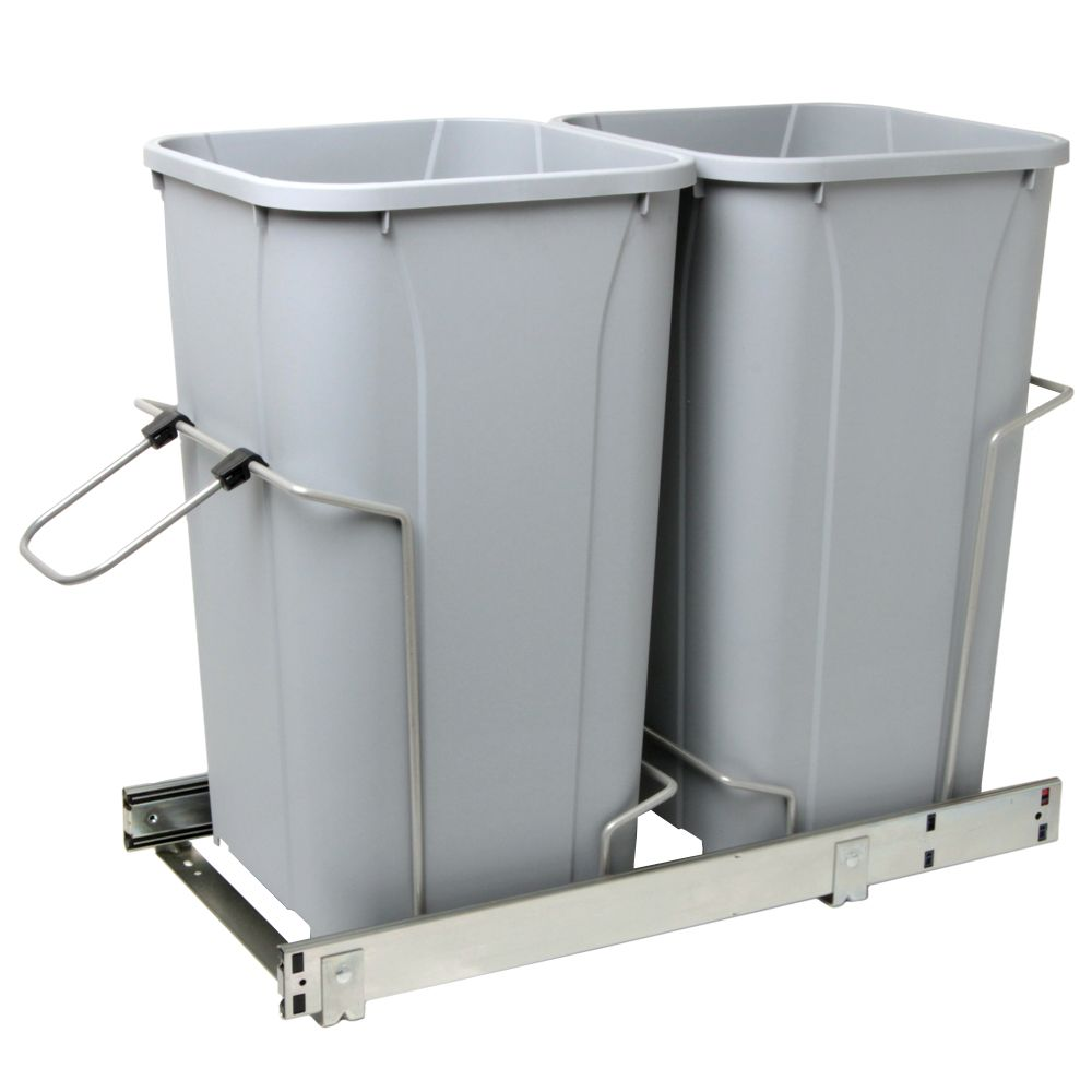 Double Soft-Close Slide-Out Waste Bin - 27 Quart - Lid Is Not Included