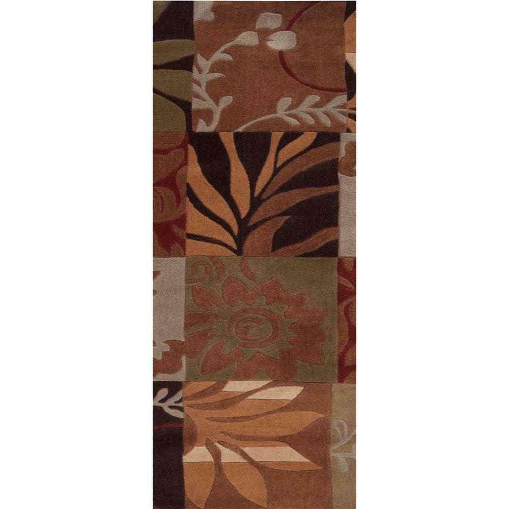 Equinox Rust/Green Polyester 2 Feet 6 Inch x 8 Feet Runner