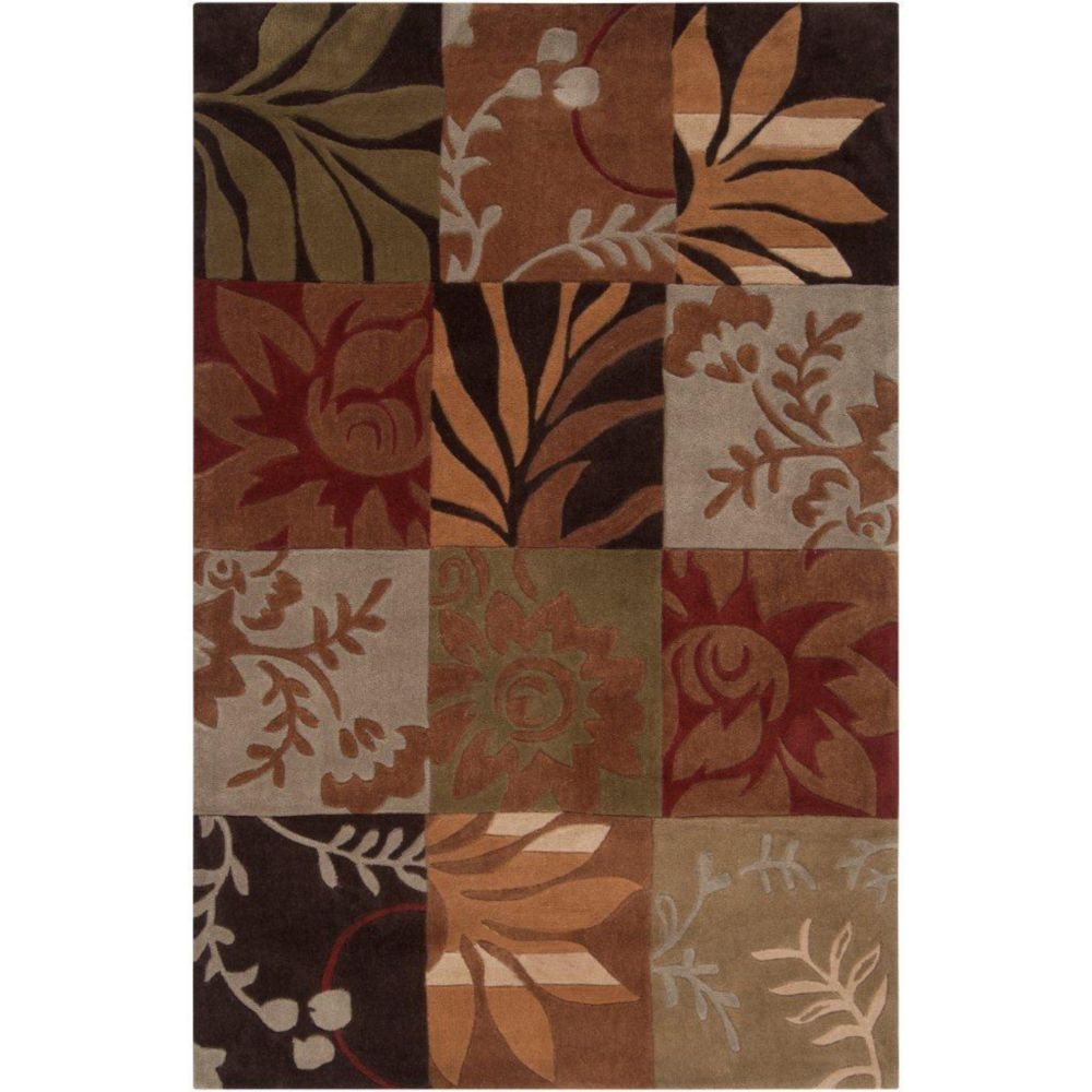 Equinox Rust/Green Polyester 3 Feet 6 Inch x 5 Feet 6 Inch Area Rug