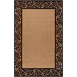 Artistic Weavers Tapis de passage d'intérieur/extérieur, 5 pi x 7 pi 6 po, style transitionnel, rectangulaire, havane Garden View