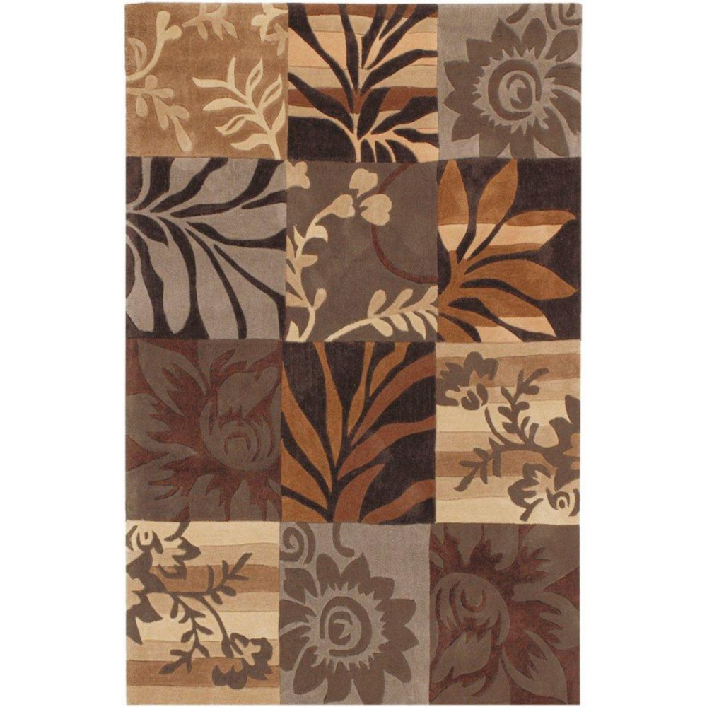 Equinox Grey/Brown Polyester 3 Feet 6 Inch x 5 Feet 6 Inch Area Rug