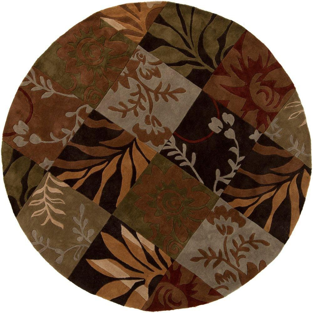 Equinox Rust/Green Polyester 8 Feet x 8 Feet Area Rug
