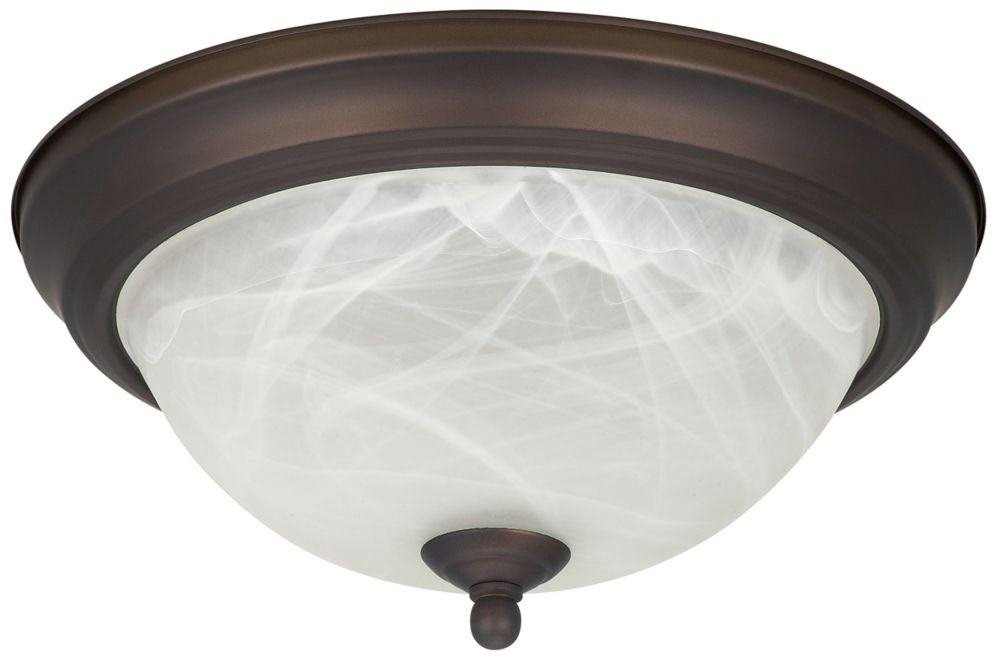 1-Light Oil Rubbed Bronze Flushmount With Alabaster Glass