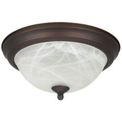 Canarm Ltd. Etoile d'énergie 1 Pétrole Léger A Frotté Bronze Flushmount avec le Verre en Albâtre- ENERGY STAR®