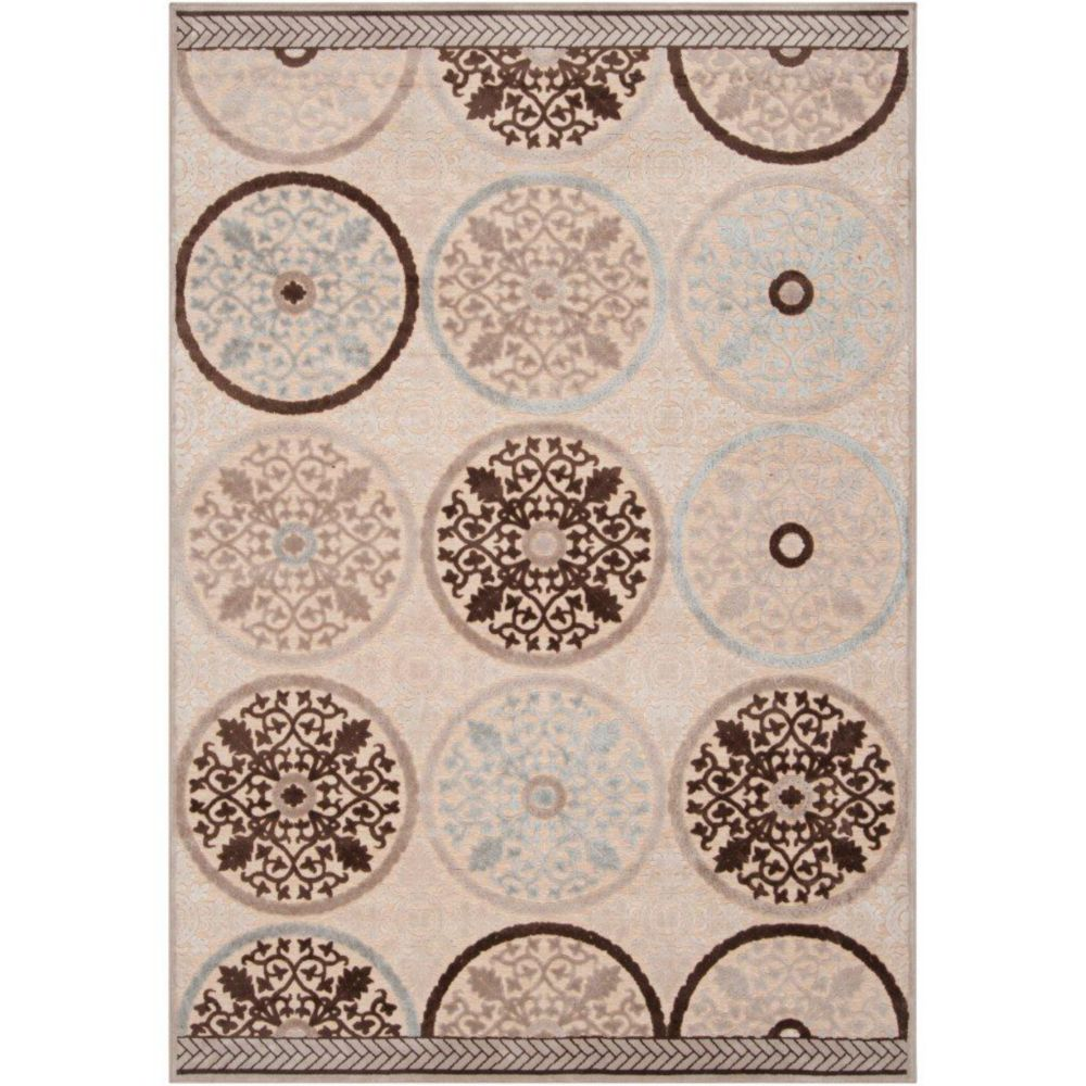 Clay Cream Viscose/Chenille 4 Feet x 5 Feet 7 Inch Area Rug