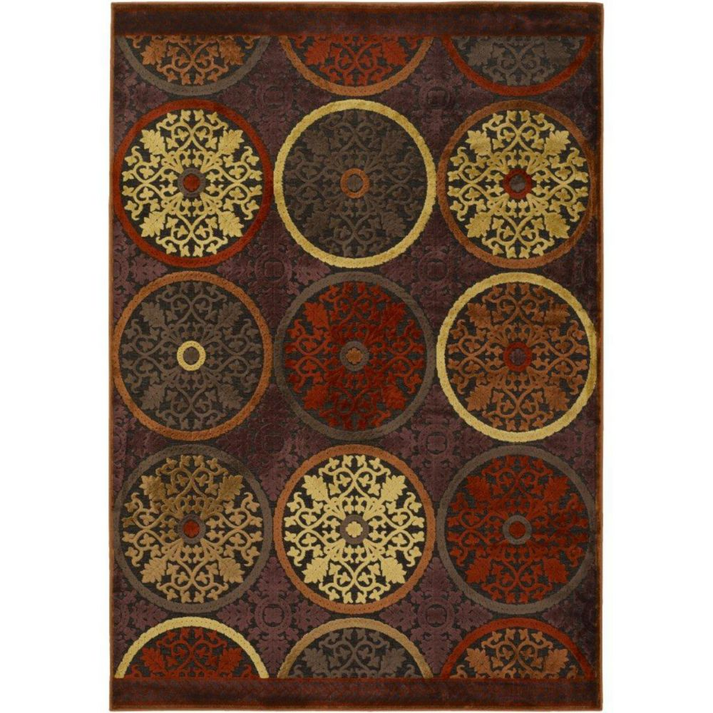 Clay Red Viscose/Chenille  Area Rug - 8 Feet 8 Inches x 12 Feet