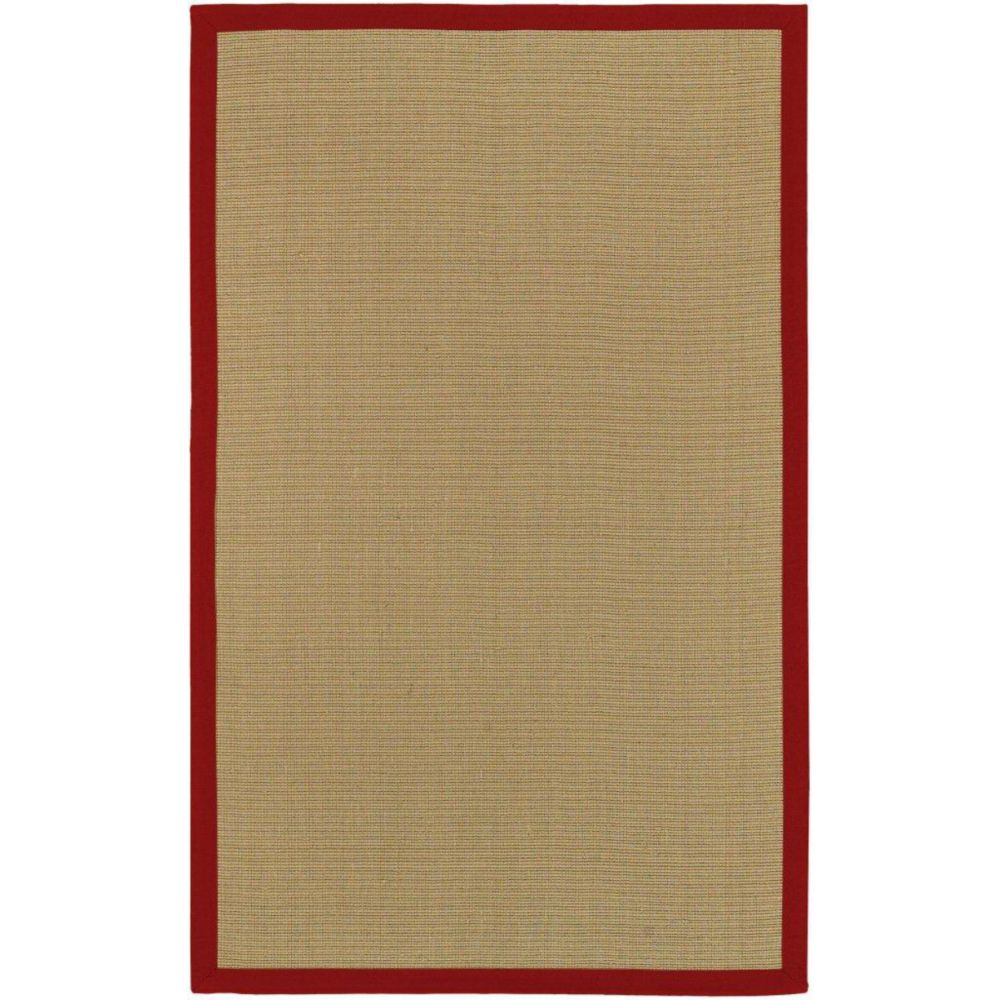 Border Town Red Sisal/Cotton  4 Ft. x 6 Ft. Area Rug