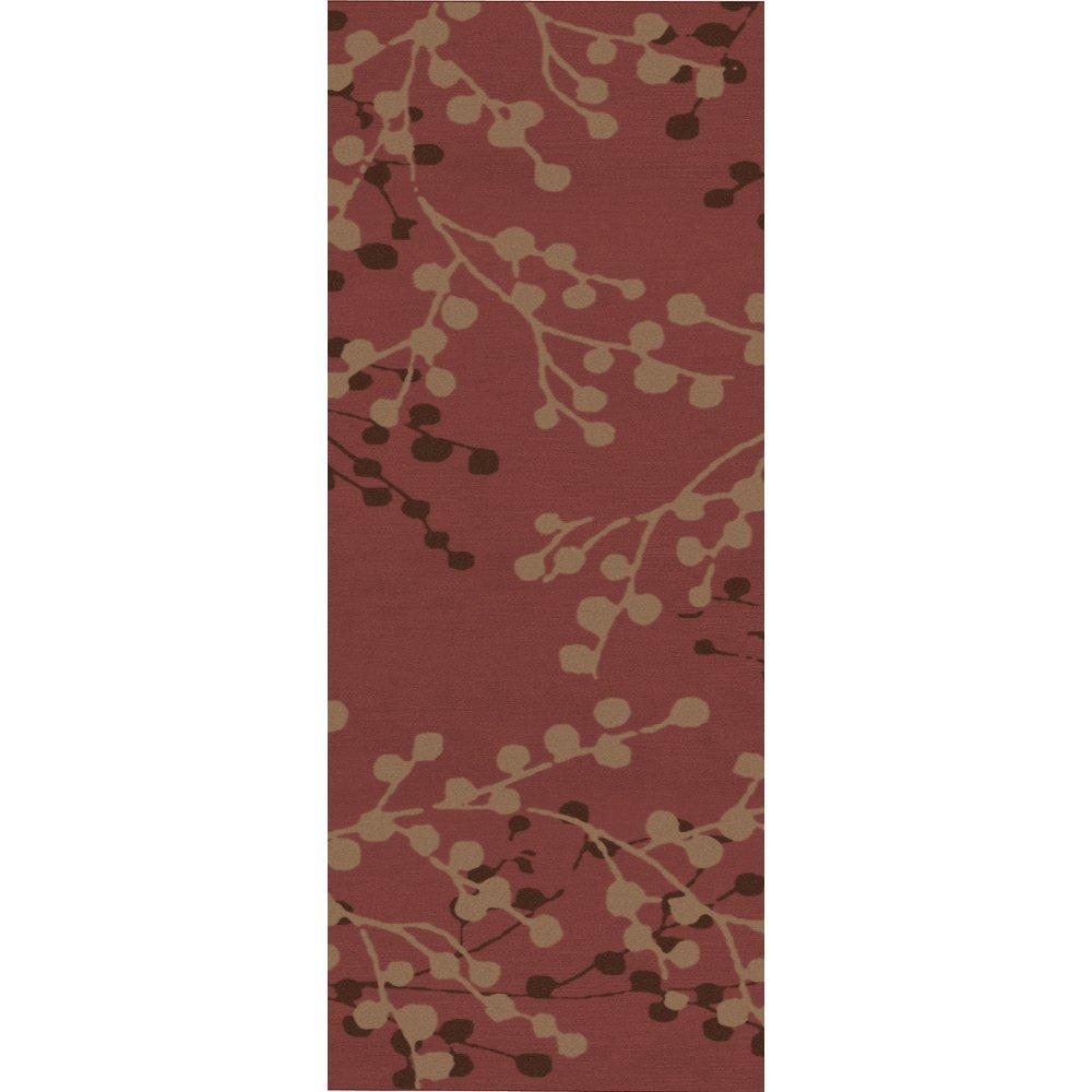Blossoms Rust Wool 2 Feet 6 Inch x 8 Feet Runner