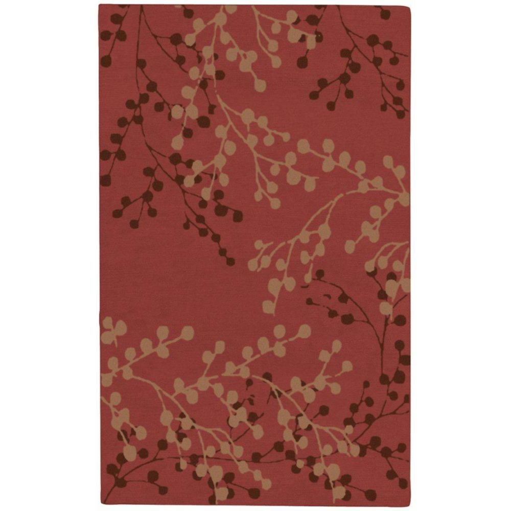 Blossoms Rust Wool 3 Feet 6 Inch x 5 Feet 6 Inch Area Rug