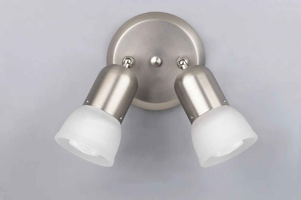 SKYE Collection 2-Light Brushed Pewter Track Light With Frosted Glass