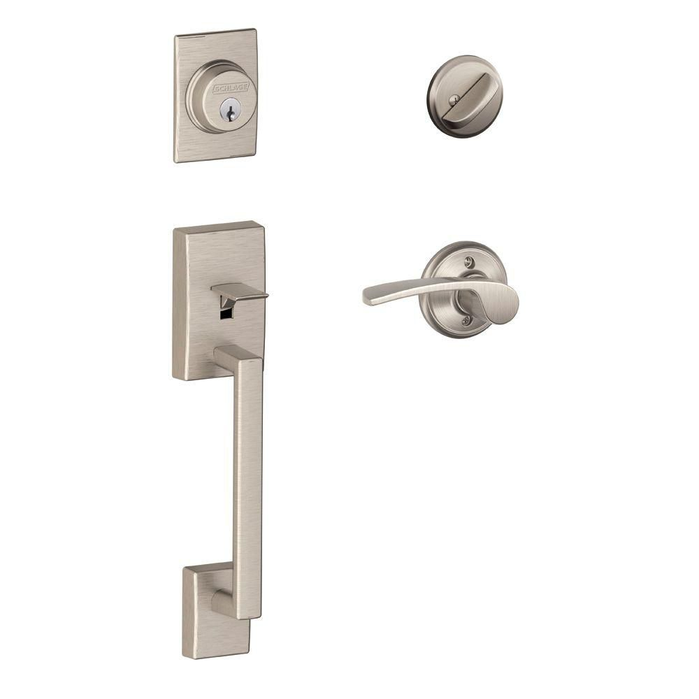 Century Satin Nickel Door Handle Set with Merano Lever