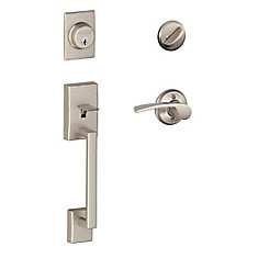 Century Single Cylinder Handleset and Merano Lever Satin Nickel