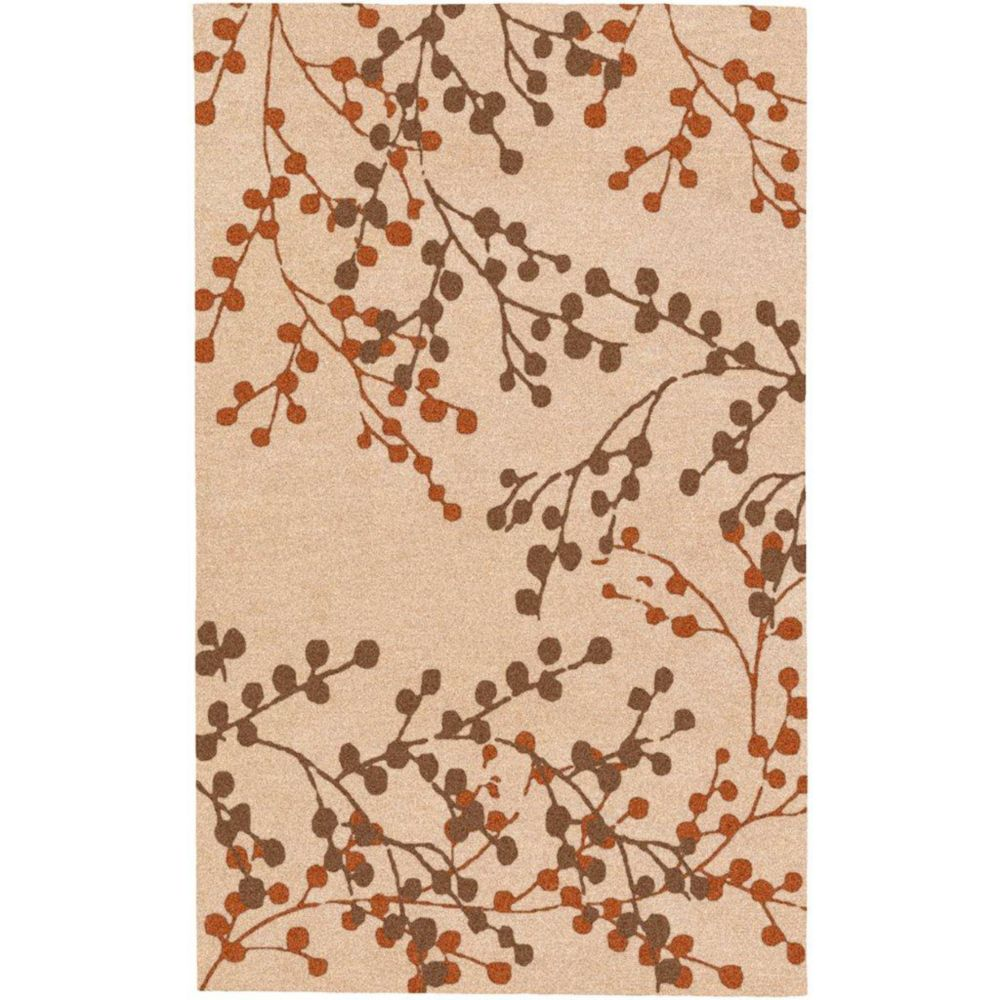Blossoms Beige Wool 5 Feet x 7 Feet 9 Inch Area Rug