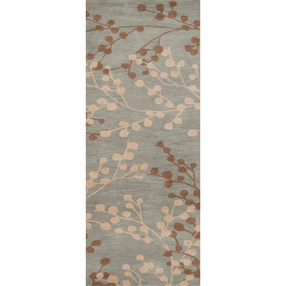 Blossoms Blue Wool  2 Ft. 6 In. x 8 Feet Runner