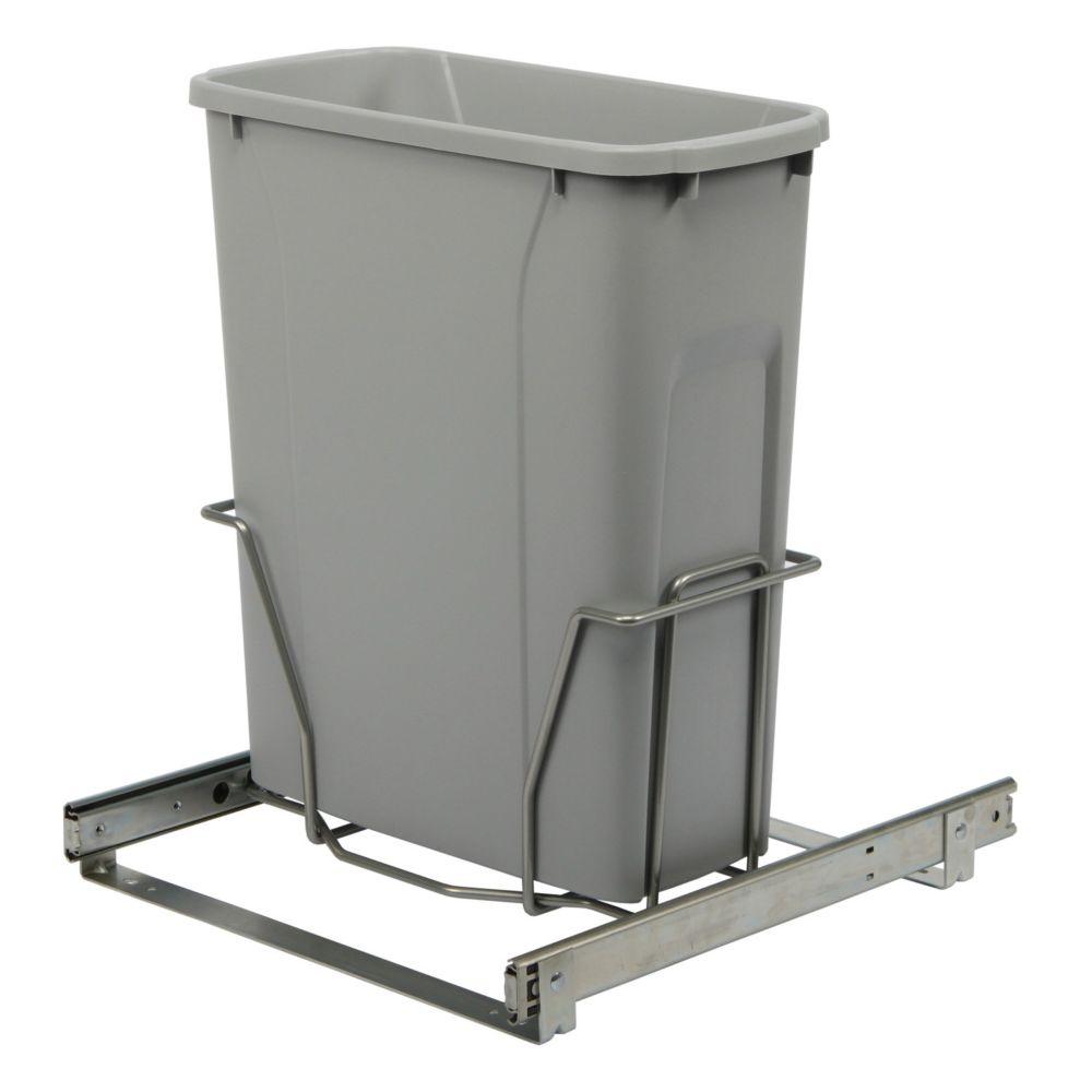 Poubelle à déchets ou recyclage coulissante qui s'installe au bas d'une armoire avec ouverture mi...