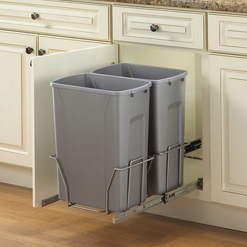 Knape & Vogt Double Slide-Out Waste Bin - 35 Quart - Lid is not Included